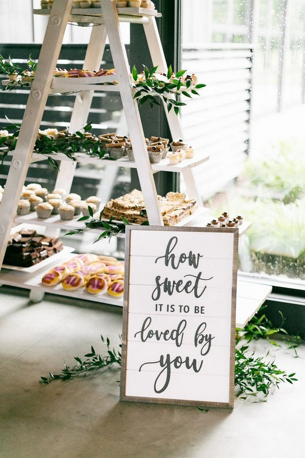 chic wedding dessert display ideas with vintage ladder