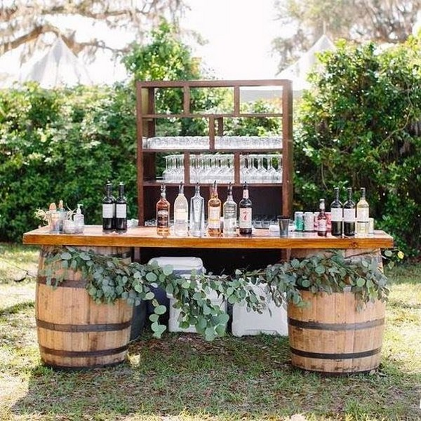 country rustic fall wedding drink station ideas