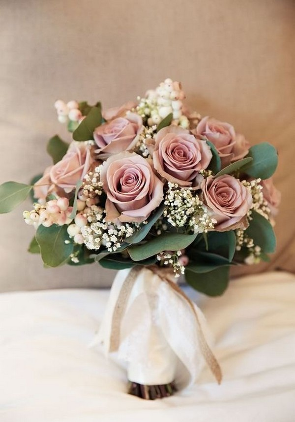 dusty rose and baby's breath wedding bouquet