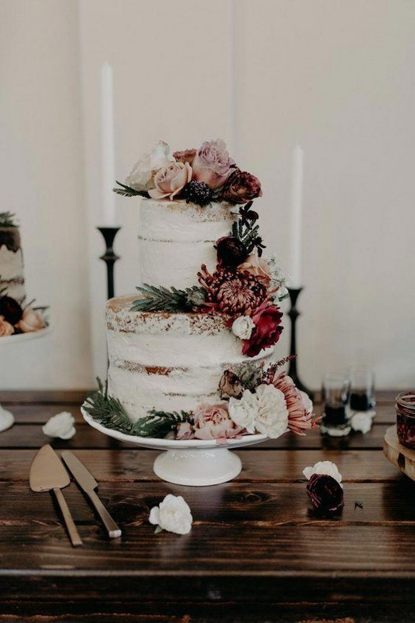 dusty rose and burgundy floral wedding cake