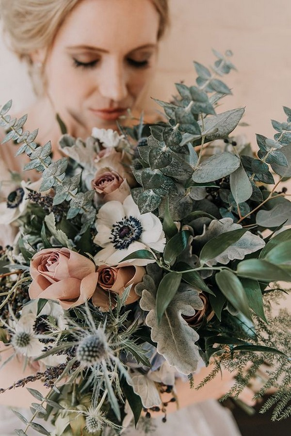 dusty rose and sage green wedding bouquet