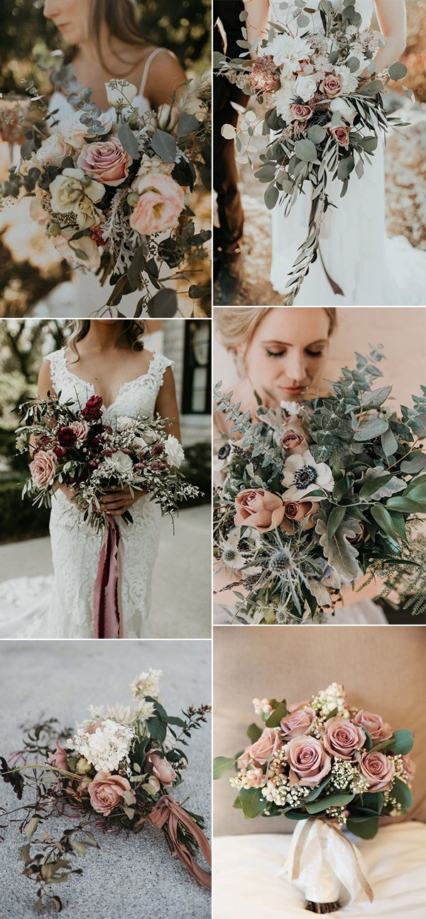 dusty rose and sage green wedding bouquets