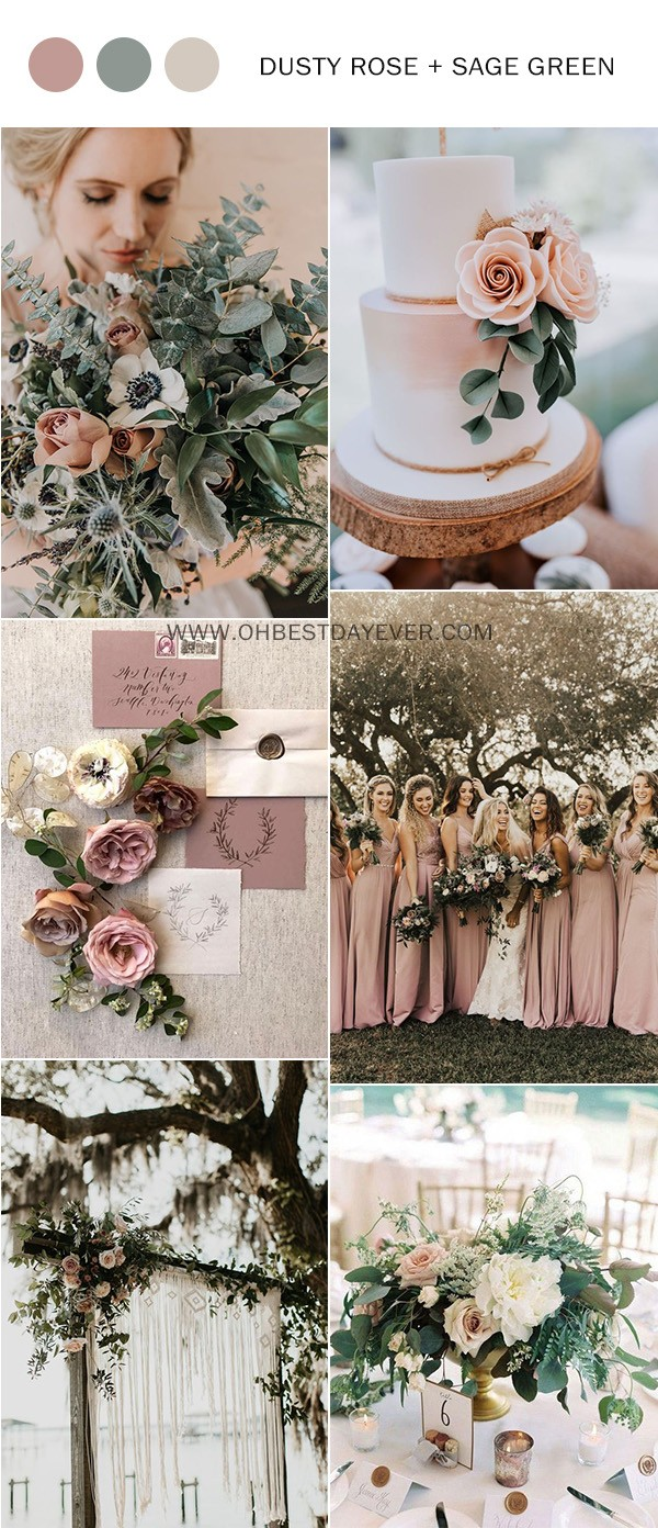 dusty rose and sage green wedding color ideas