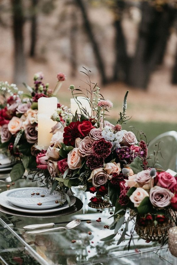 dusty rose burgundy and greenery wedding centerpiece