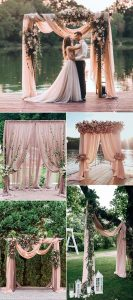 dusty rose wedding arches and alters
