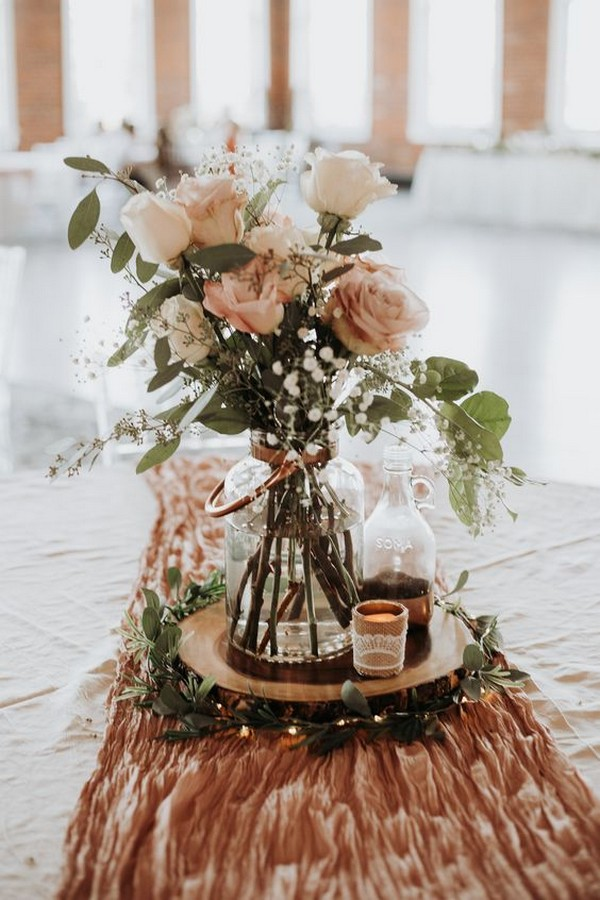 dusty rose wedding centerpiece ideas