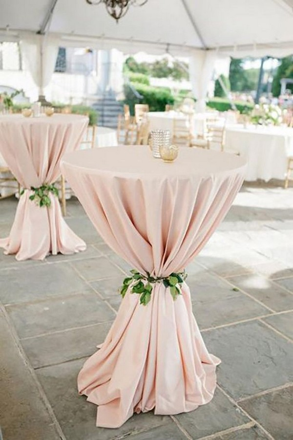 elegant blush pink wedding cocktail table ideas