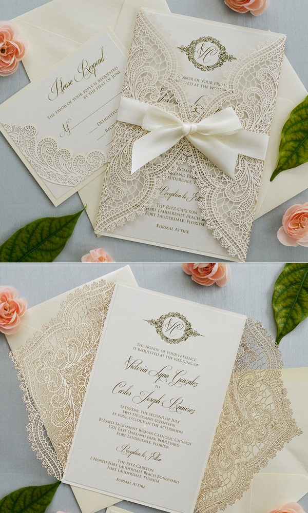 elegant ivory laser cut wedding invitations