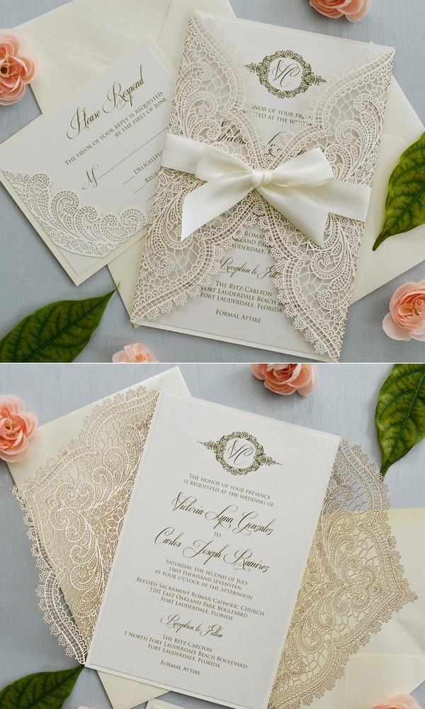 elegant ivory laser cut wedding invitations