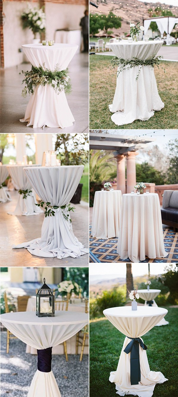 elegant ivory wedding cocktail table decoration ideas