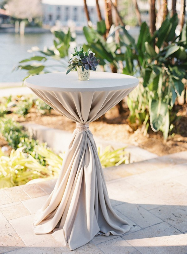 elegant neutral wedding cocktail table ideas