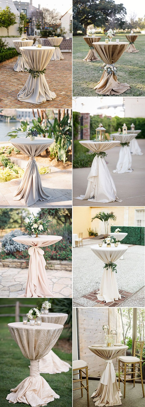 elegant neutral wedding cocktail tables