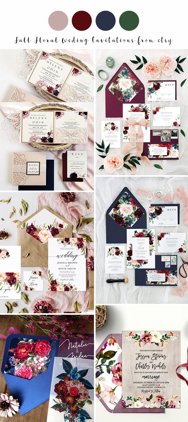 fall floral wedding invitations from ETSY