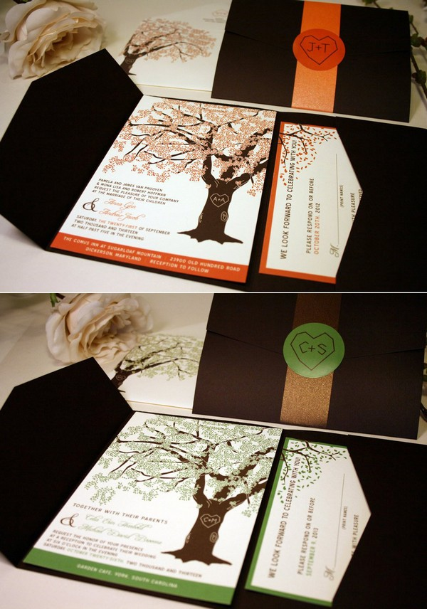 fall oak tree pocket wedding invitations