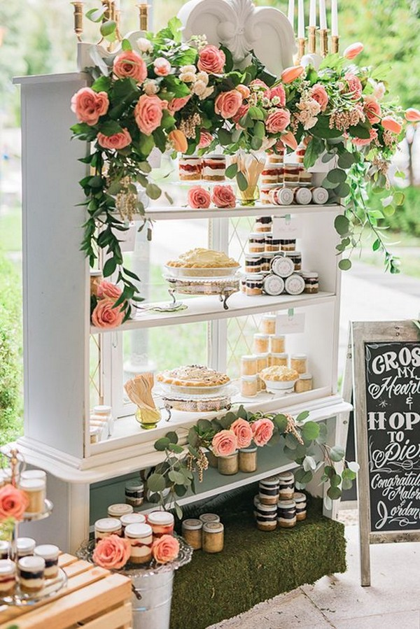 garden themed wedding dessert display ideas