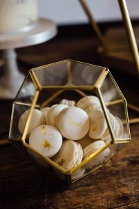 geometric wedding dessert macaron display ideas