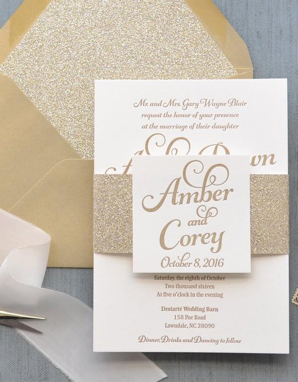 glitter gold fall wedding invitations