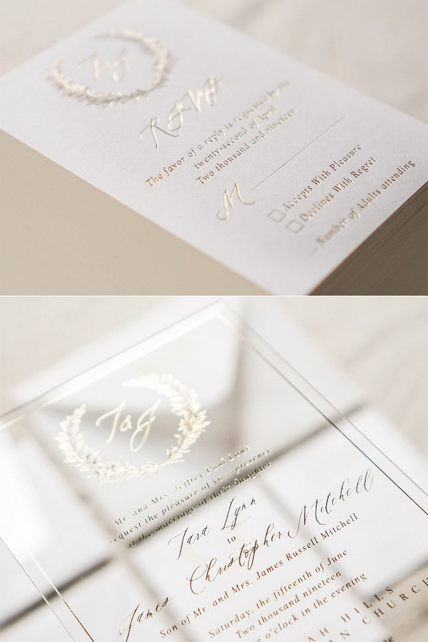 gold foil acylic wedding invitation set