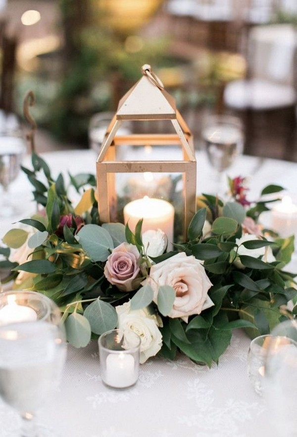gold lantern wedding centerpiece ideas with dusty rose