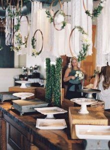 industrial wedding dessert table display ideas