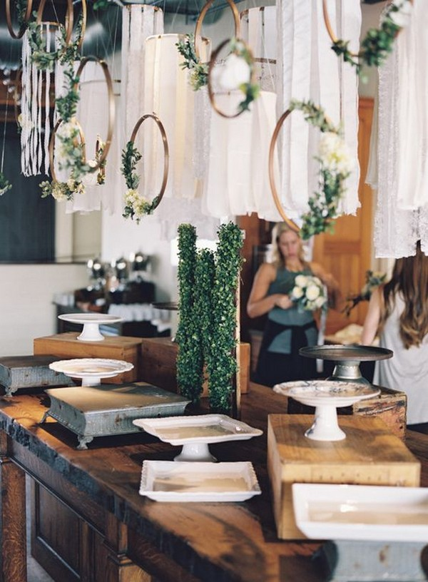 industrial wedding dessert table display ideas