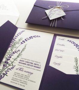lavender purple pocket fall wedding invitations
