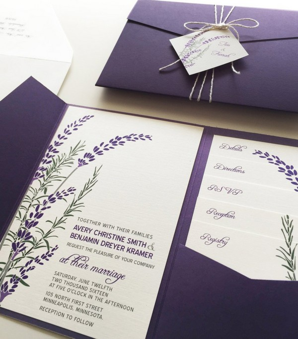 lavender purple pocket fall wedding invitations