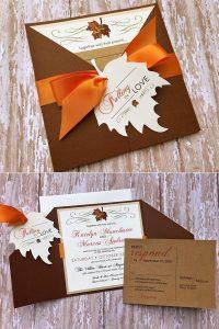 maple leaves fall pocket wedding invitations
