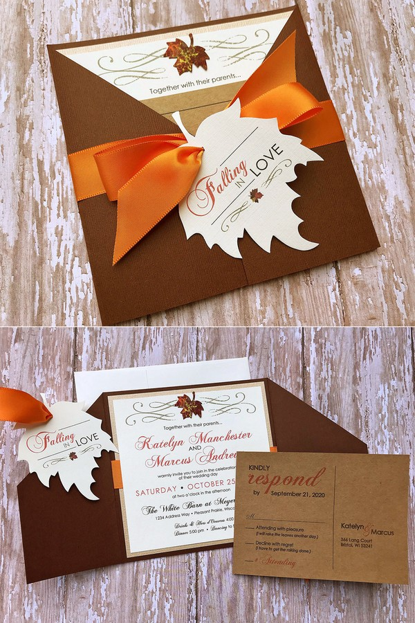 maple leaves fall pocket wedding invitations
