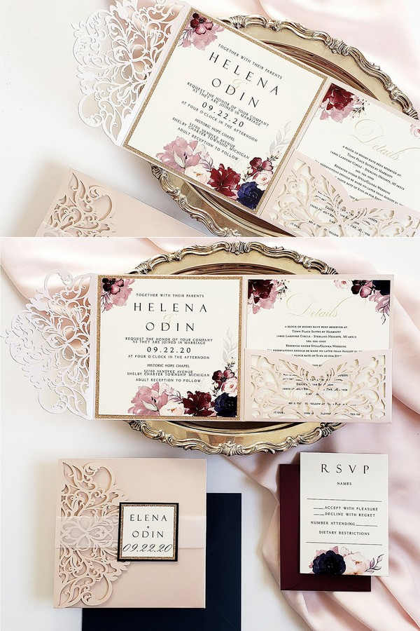 navy and blush laser cut wedding invitations