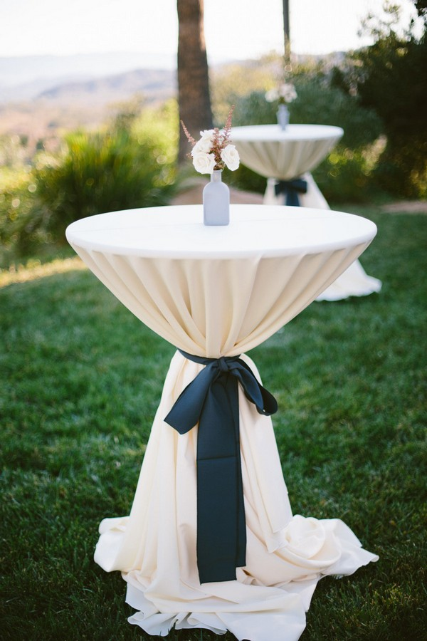 navy and ivory wedding cocktail table decoration ideas