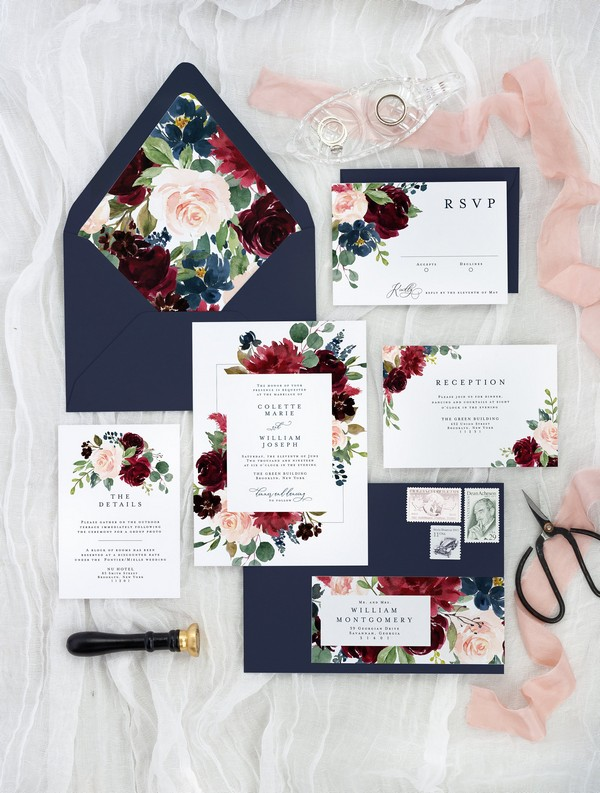 navy blue and burgundy fall wedding invitations