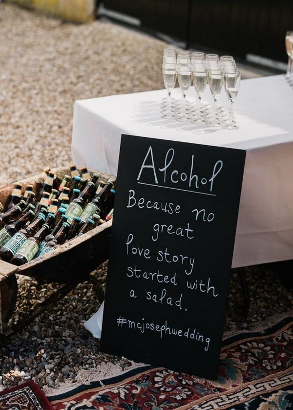 outdoor backyard wedding drink station ideas