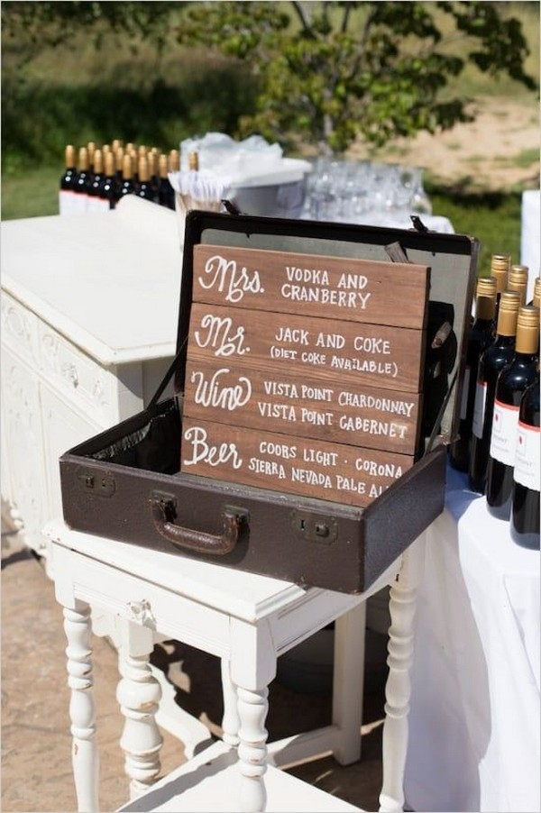 outdoor fall wedding drink station ideas