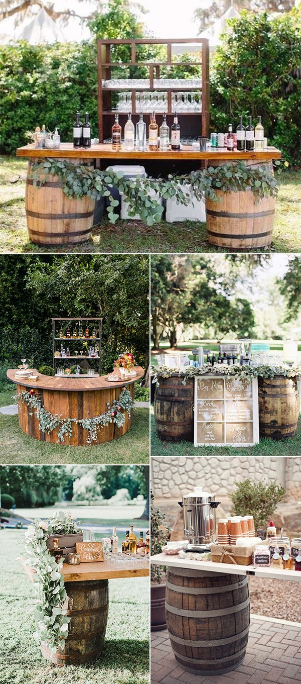 outdoor rustic fall wedding drink station ideas