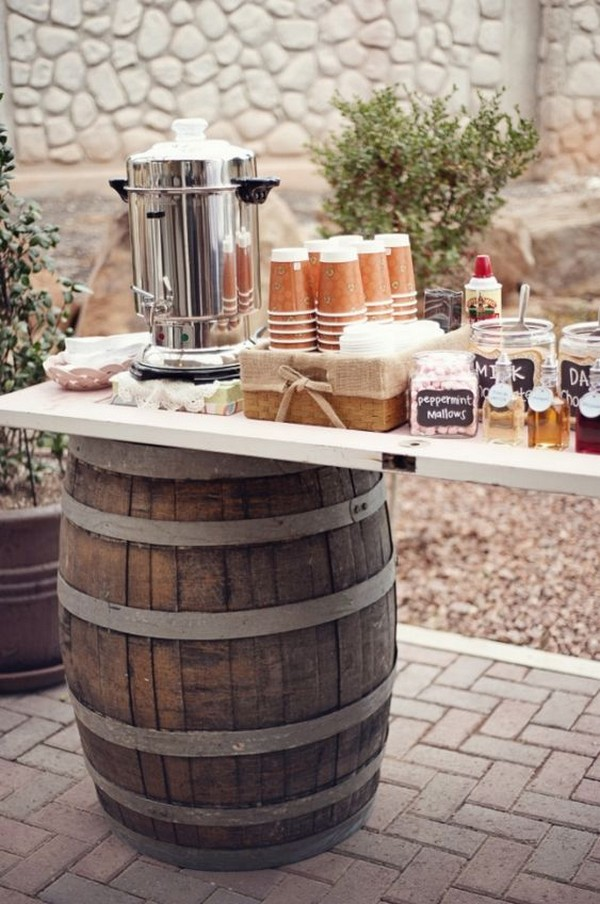 outdoor rustic weddding coffee bar ideas