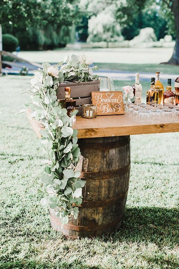 outdoor rustic wedding drink bar ideas