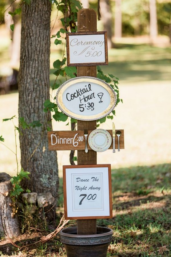 outdoor wedding timeline sign decoration ideas