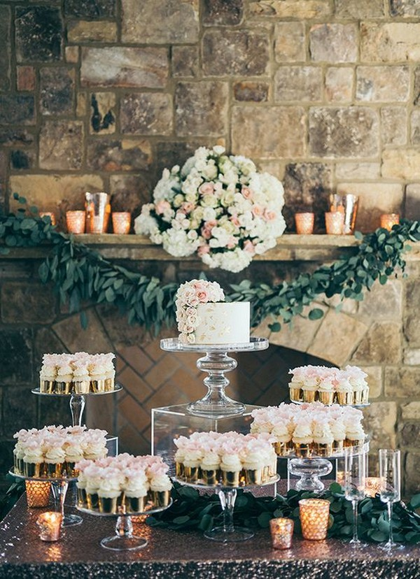 romantic cupcake wedding dessert display ideas