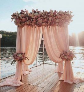 romantic dusty rose wedding arch
