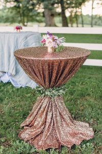 rose gold glittery wedding cocktail table decoration ideas