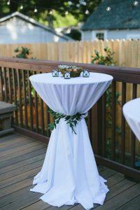 rustic backyard wedding cocktail table ideas