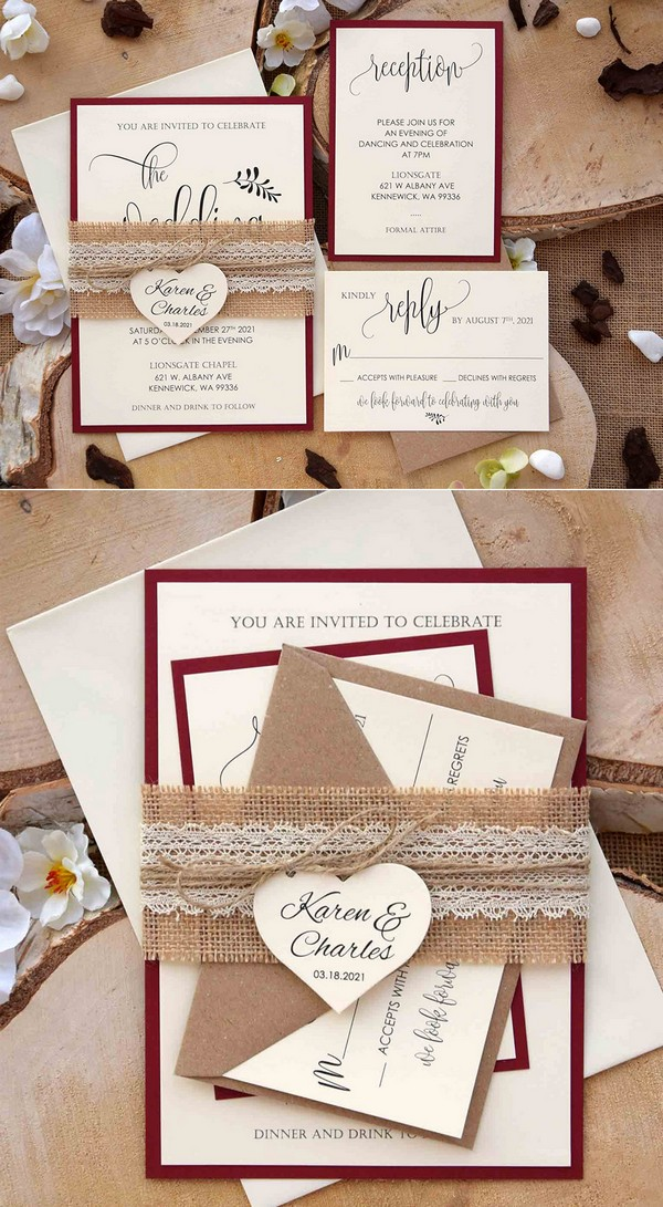 rustic burgundy fall wedding invitation set with burlap