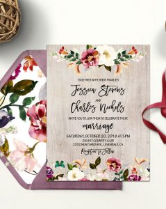 rustic fall floral wedding invitations