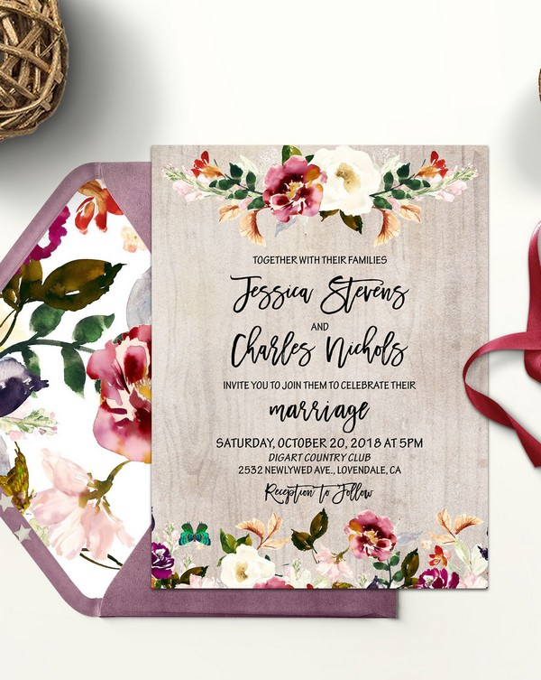 rustic fall floral wedding invitations