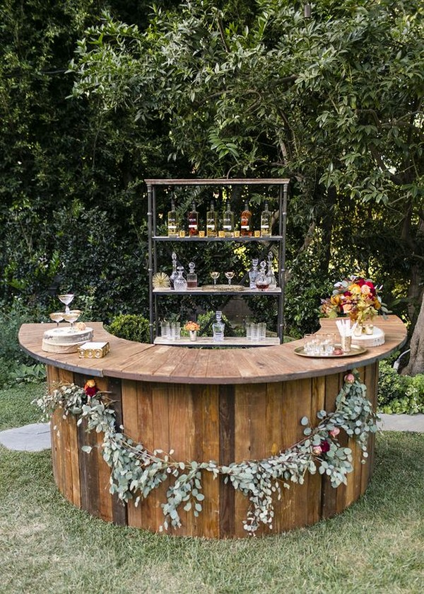 rustic outdoor fall wedding drink bar ideas