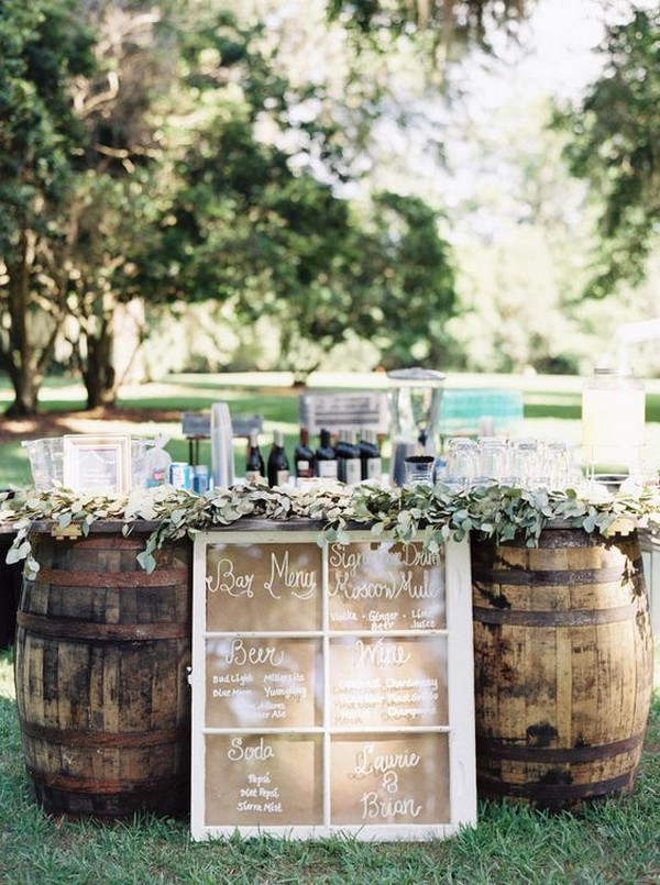 rustic outdoor wedding drink bar ideas