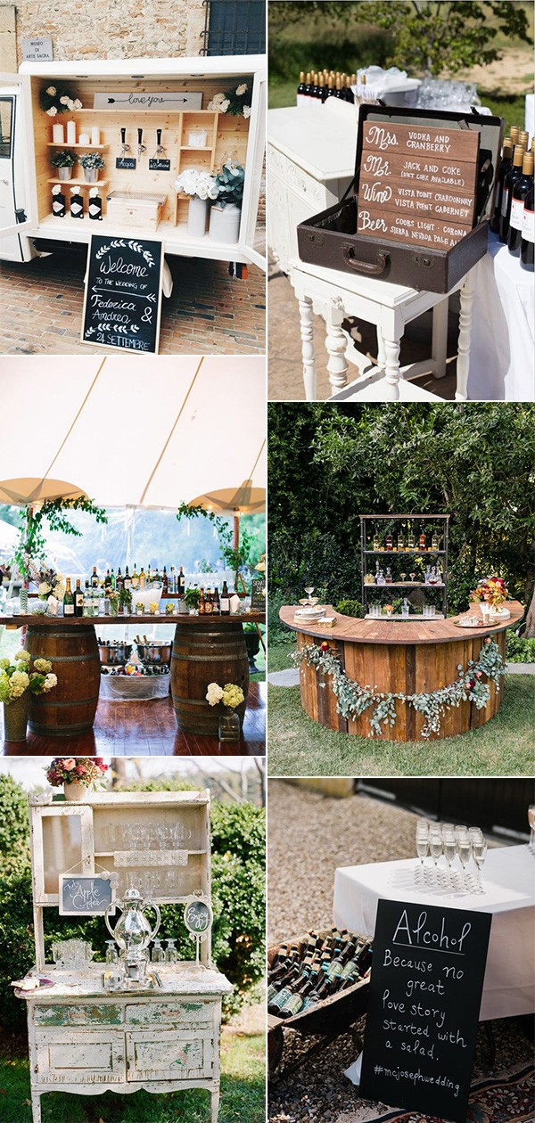 rustic outdoor wedding drink station ideas