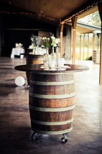 rustic wine barrel wedding cocktail table ideas