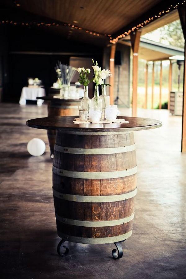 rustic wine barrel wedding cocktail table ideas